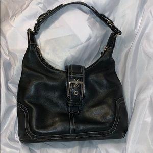 Coach black leather hobo bag
